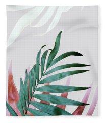 Green Tropical Leaves, Fern Plant Fleece Blanket