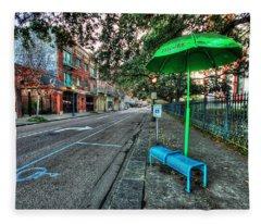 Green Umbrella Bus Stop Fleece Blanket