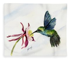Green Violet-ear Hummingbird Fleece Blanket