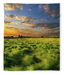 Green Waves Fleece Blanket