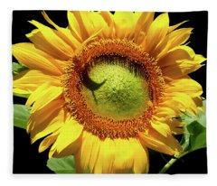 Greenburst Sunflower Fleece Blanket
