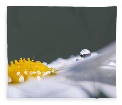 Grey And Yellow Daisy Fleece Blanket