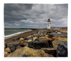 Grey Day At Scituate Lighthouse Fleece Blanket