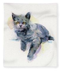 Grey Kitten Fleece Blanket