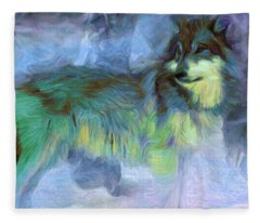 Grey Wolves In Snow Fleece Blanket
