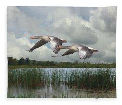 Greylag Geese In Flight Fleece Blanket