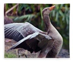 Greylag Goose Poetry Fleece Blanket