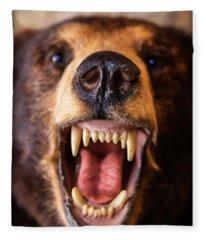 Grin And Bear It Alaska Wildlife Up Close Fleece Blanket