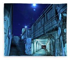 Gritty Dark Chicago City Street Under Industrial Bridge Viaduct At Night Fleece Blanket