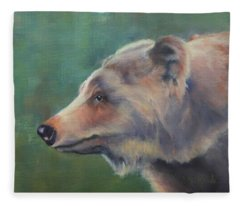 Grizzly Bear Portrait Fleece Blanket