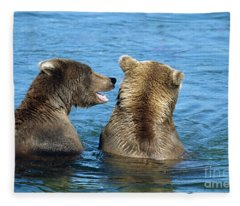 Grizzly Bear Talk Fleece Blanket