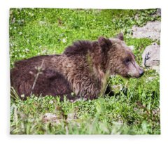 Grizzly Cub  Fleece Blanket