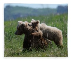 Grizzly  Mother And A Cub In Katmai National Park Fleece Blanket