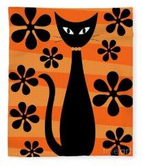 Groovy Flowers With Cat Orange And Light Orange Fleece Blanket