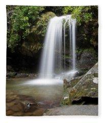 Grotto Falls Vertical Fleece Blanket