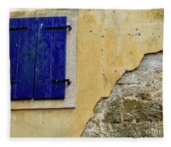 Groznjan Istrian Hill Town Stonework And Blue Shutters  - Istria, Croatia Fleece Blanket