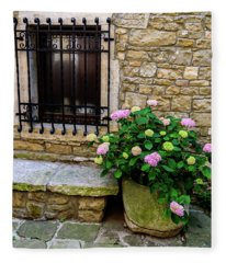 Groznjan Istrian Hill Town Stonework And Flowerpot - Istria, Croatia Fleece Blanket