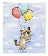 Grumpy Cat And Balloons Fleece Blanket