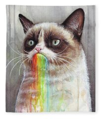 Grumpy Cat Tastes The Rainbow Fleece Blanket