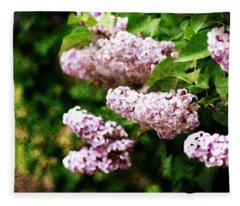 Grunge Lilacs Fleece Blanket