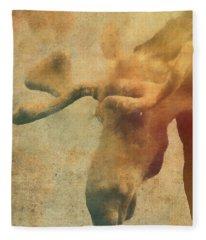 Grunge Moose  Fleece Blanket