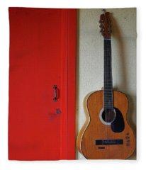 Guitar And Red Door Fleece Blanket