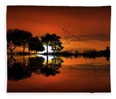 Guitar Landscape At Sunset Fleece Blanket