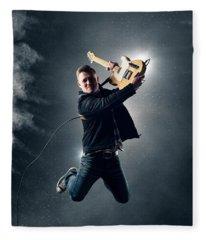 Guitarist Jumping High Fleece Blanket