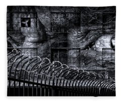 Gulag In Black And White Fleece Blanket