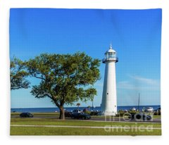 Gulf Coast Lighthouse Seascape Biloxi Ms 3663b Fleece Blanket