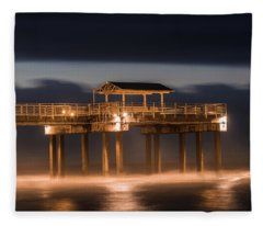 Gulf Shore State Park Pier Blue Hour  Fleece Blanket