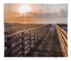 Gulf Shore Sunrise And Boardwalk Fleece Blanket