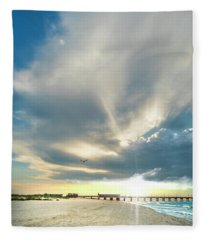 Gulf Shores Al Pier Seascape Sunrise 152a Fleece Blanket