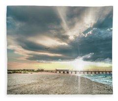 Gulf Shores Al Pier Seascape Sunrise 152c Fleece Blanket