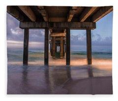 Gulf Shores Alabama Pier Sunrise  Fleece Blanket