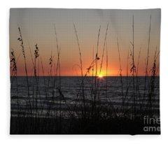 Gulf Sunset In Florida Fleece Blanket