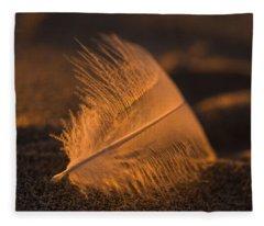 Gull Feather At Sunset Fleece Blanket