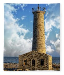 Gull Island Lighthouse Fleece Blanket