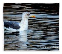 Gull On Winter's Pond  Fleece Blanket