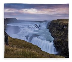 Gullfoss, Sunrise Fleece Blanket