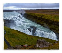 Gullfoss Waterfall #2 - Iceland Fleece Blanket