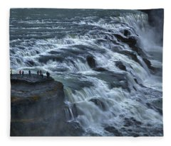 Gullfoss Waterfall #6 - Iceland Fleece Blanket