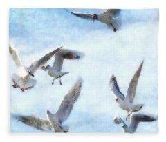 Gulls In Flight Watercolor Fleece Blanket
