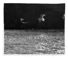 Gulls On The River Fleece Blanket