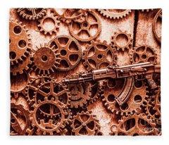 Guns Of Machine Mechanics Fleece Blanket