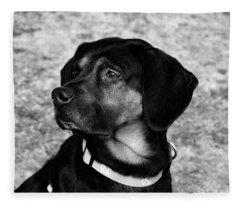 Gus - Black And White Fleece Blanket