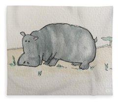 H Is For Hippopotamus Fleece Blanket