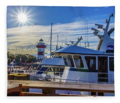 Habour Town Lighthouse And Marina Fleece Blanket