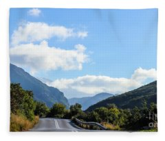 Hairpin Curve On Greek Mountain Road Fleece Blanket