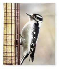 Hairy Woodpecker Fleece Blanket